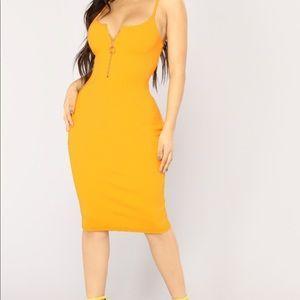 Yellow Ribbed Midi Tank Dress